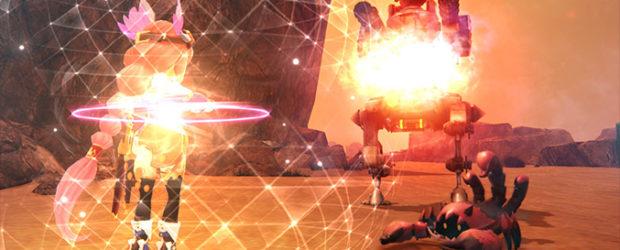 """Quinn beherrscht den Einsatz des Gerätes """"Luna Gear"""", dessen Funktionen sie benötigt, um die Wüste zu erkunden. Blockiert eine Maschine den Weg, nutzt..."""